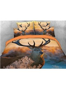 Reindeer Watching You Printing 3D 4-Piece Cotton Bedding Sets/Duvet Cover