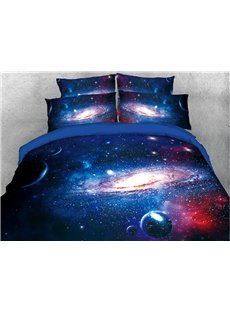 Spiral Galaxy and Celestial Body Blue Printed 3D 5-Piece Comforter Sets