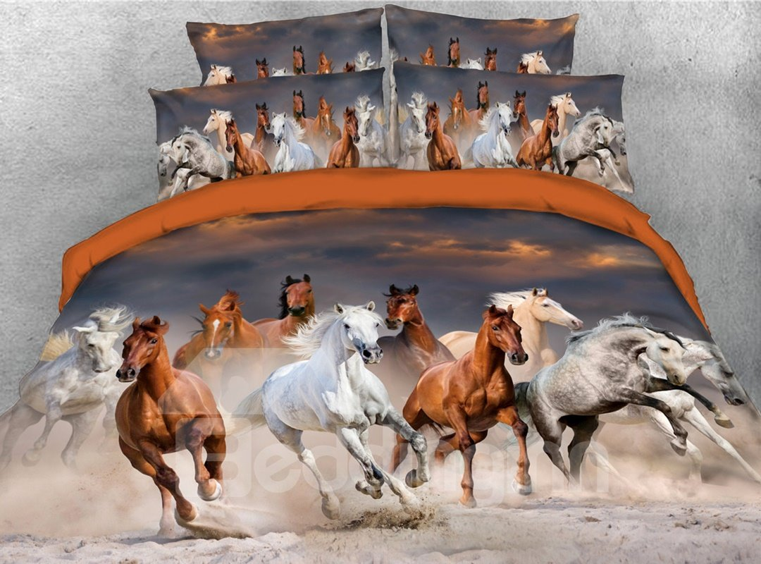 Galloping Horse Digital Printing Cotton 5 Piece 3d Comforter Sets Pic