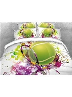 Tennis Sports Style Printed 5-Piece 3D Green Comforter Sets