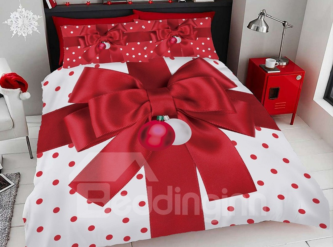 Red Christmas Gift Bow Digital Printing Cotton 3d 5 Pic