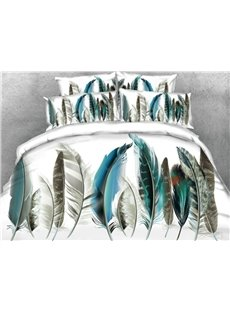 Painting Feather Printed 5-Piece White 3D Comforter Sets
