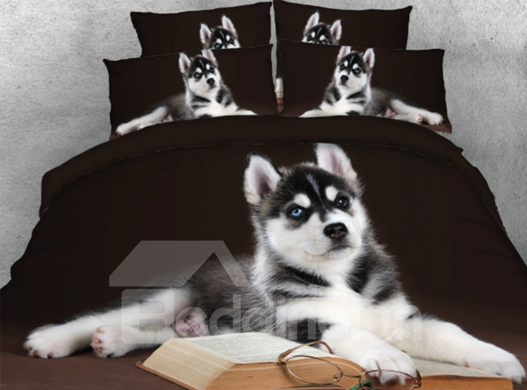 Husky Book Glasses Printed 5 Piece 3d Black Comforter Sets Pic