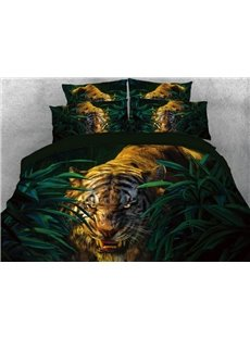 Tiger in the Jungle Printed 5-Piece 3D Comforter Sets