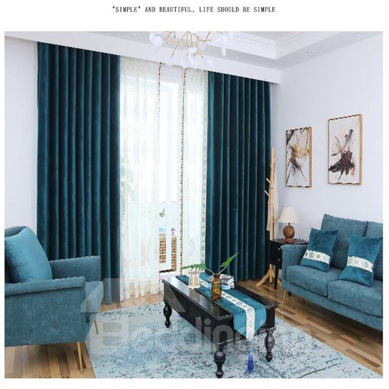 Lake Blue Plain Design Flocking Suede Curtains for Home