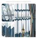 Blue Suede Flocking Embroidered Single Color Custom Curtain Drapes