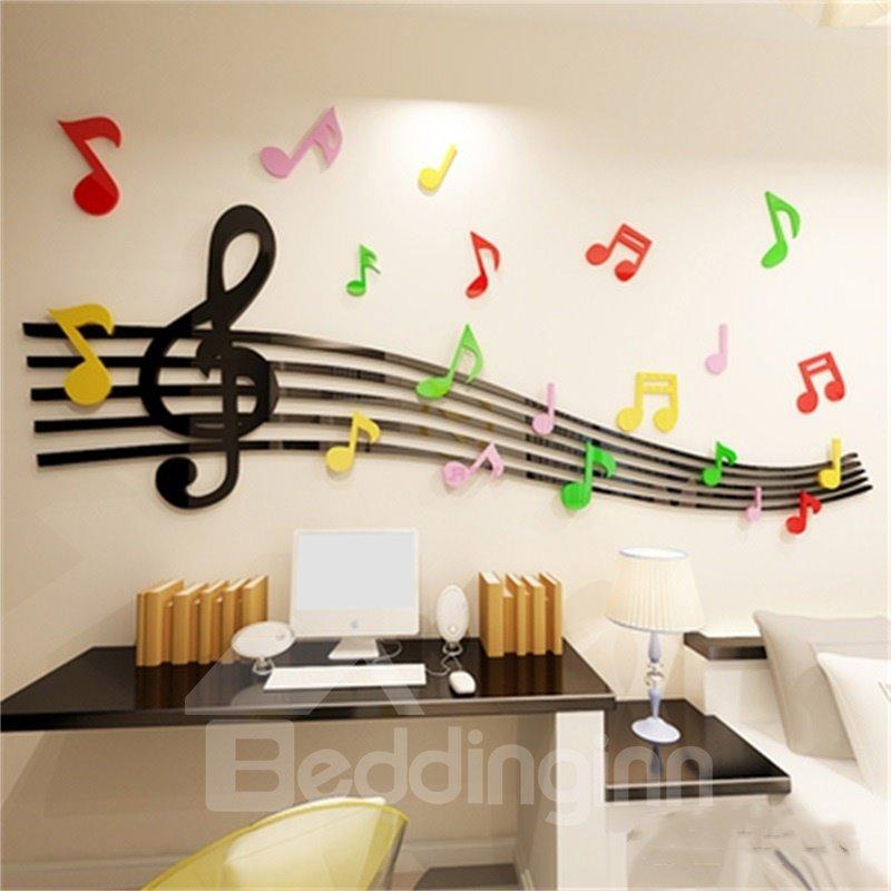 Black Staff Pattern Acrylic Material Living Room 3D Wall Sticker