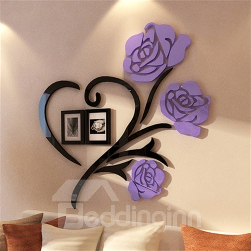 Purple Two Photo Frame Love Heart Pattern Acrylic Material Living Room 3D Wall Sticker