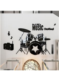 Black Drum Set Pattern Acrylic Material Living Room 3D Wall Sticker