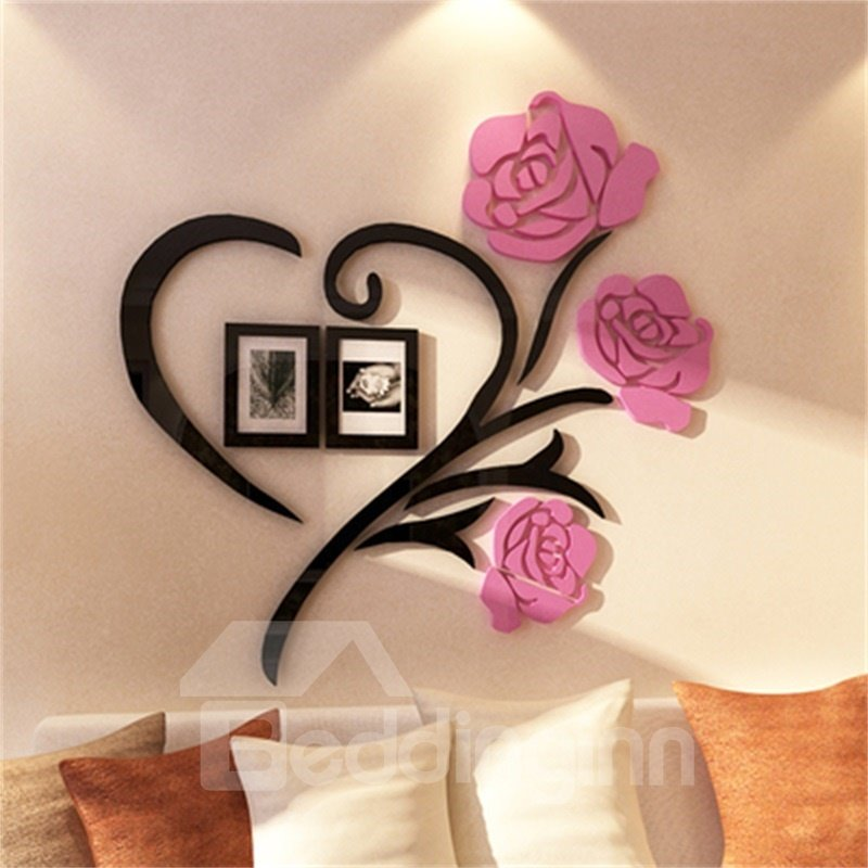 Pink Two Photo Frame Love Heart Pattern Acrylic Material Living Room 3D Wall Sticker