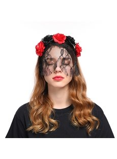 Sexy Lace Veil Decorated with Roses Headband