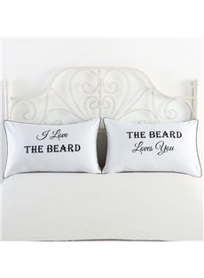 I Love the Beard Printed One Pair of Couple Pillowcase