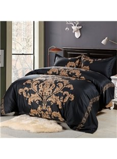 Coffee Floral Pattern Printed Polyester 3-Piece Black Bedding Sets/Duvet Cover