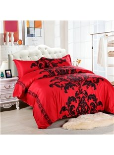 Black Floral Pattern Printed Polyester 3-Piece Red Bedding Sets/Duvet Cover