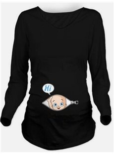 Long Sleeve Maternity Funny Design Loose Model T-Shirt