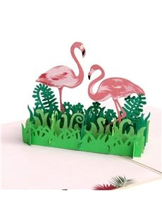 3D Pink Flamingo in the Grass Greeting Card