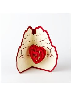 3D Love in the Palm Greeting Card