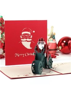 3D Cool Santa Claus Riding a Motorcycle Christmas Card