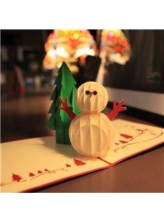 3D Cute Snowman Christmas Greeting Card