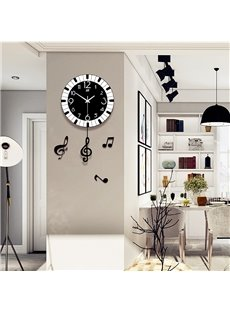 Creative Round Shape MDF Music Design Battery Hanging Wall Clock