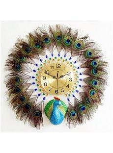 Iron and Diamonds Handmade Peacock Shape Battery Hanging Wall Clock