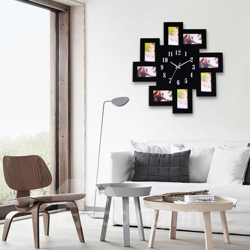 Black/White MDF Creative Photo Frame Decor Battery Hanging Wall Clock