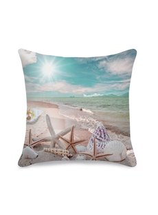 Starfish and Shells on the Beach Printed 3D Throw Pillowcase