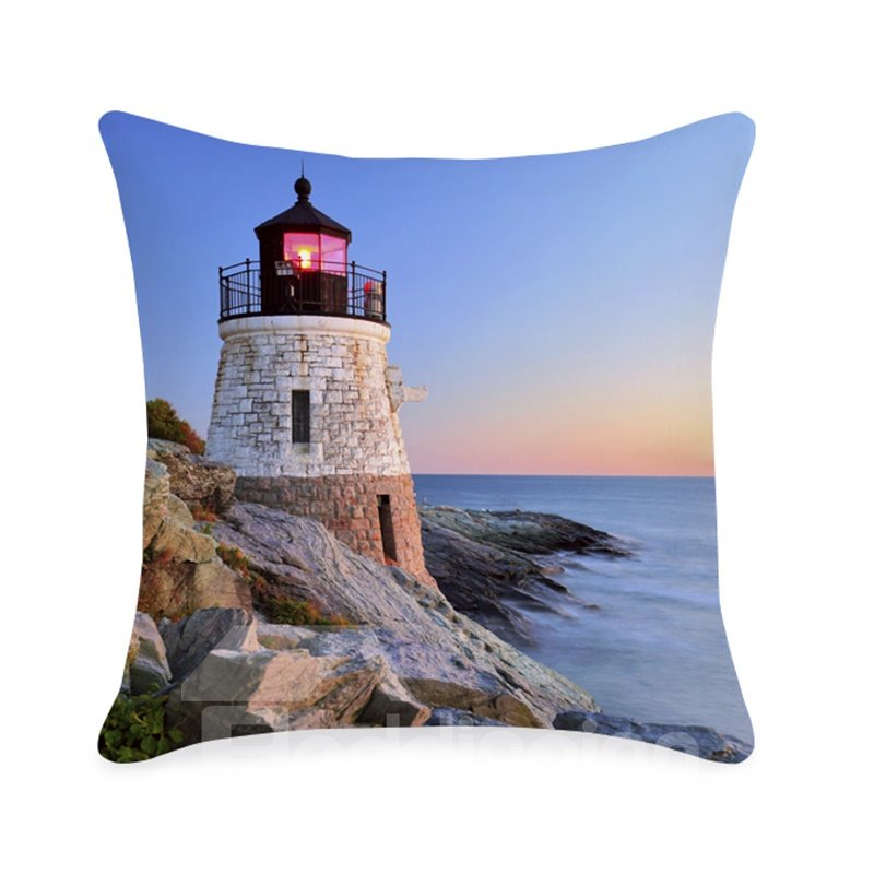 Lighthouse and Sea Scenery Printed 3D Throw Pillowcase