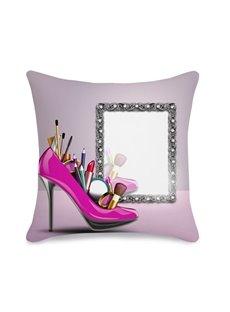 Feminine High Heels Makeup Tools 3D Printed Throw Pillowcase