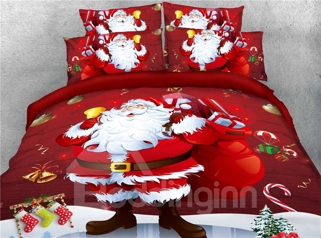 Santa With Lots of Christmas Presents Printed 4-Piece 3D Bedding Sets/Duvet Covers
