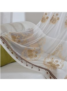 Golden Embroidery Pattern Pendant Bottom Curtain Match White Sheer