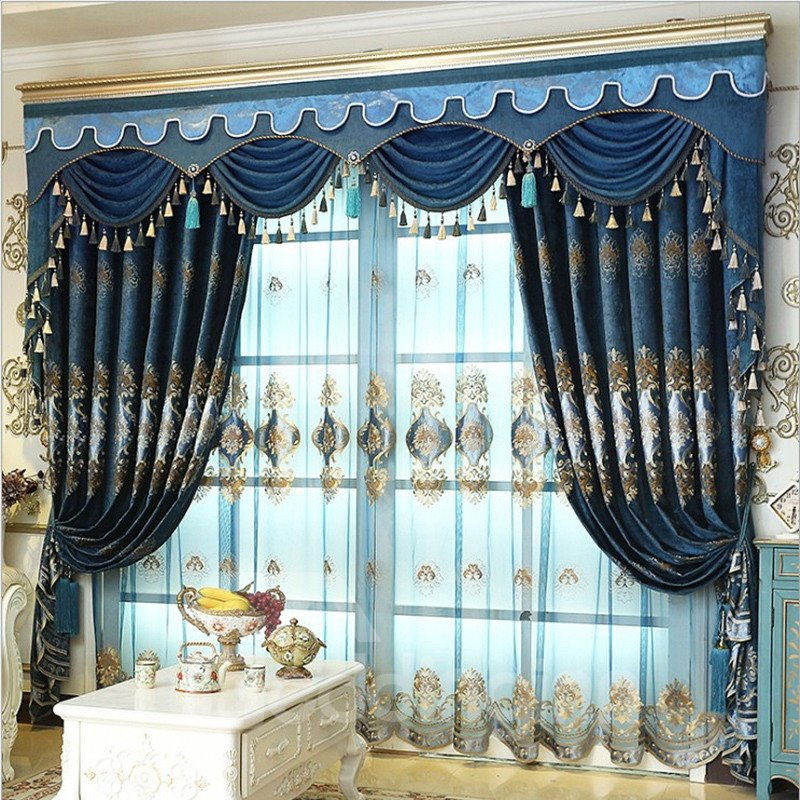 Embroidery Drapes European Old Navy Blue Curtain 2 Panels Pic