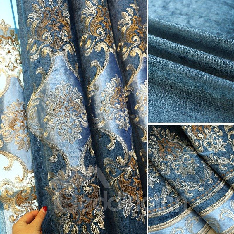 Embroidery Drapes European Style Old Navy Blue Custom Curtain