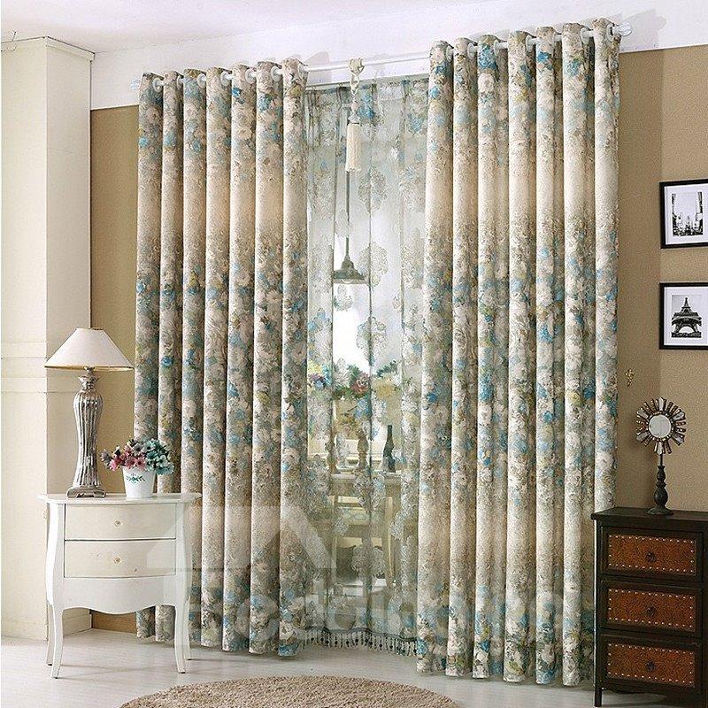 Pastoral Floral Blue and Beige Grommet Top Bedroom Curtain