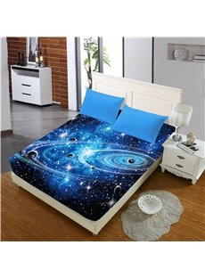 Universe Planet Galaxy Printed 3D Cotton Fitted Sheet