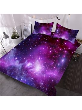 Purple Galaxy Cluster Digital Printed 3D Polyester Comforter