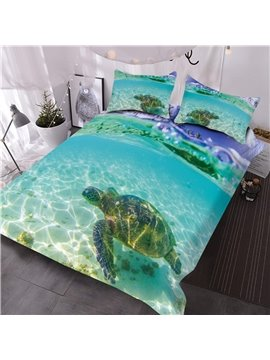 Turtle in the Blue Limpid Ocean Digital Printed 3D Comforter