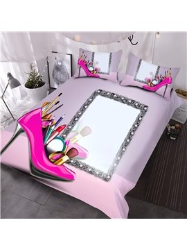 Feminine High Heels Makeup Tools Digital Printing 3D Comforter