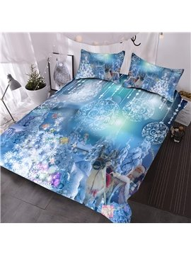 Santa Claus and Christmas Ornaments Printed 3D Comforter