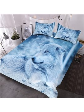 White Lying Wolf and Snow Reactive Printed 3D Comforter