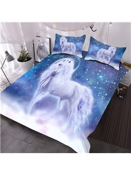 White Unicorn and Galaxy Printed 3D Polyester Comforter