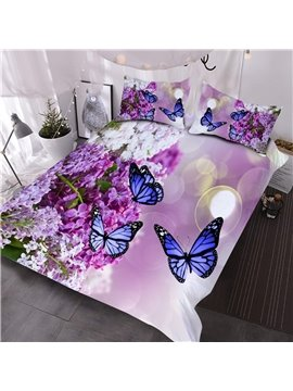 Lilac and Butterfly Reactive Printed Floral 3D Comforter