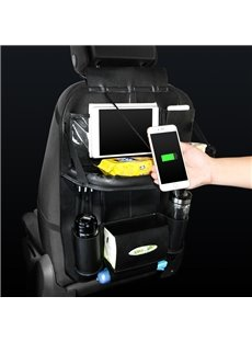 Car with 3 USB Charging Cables and Dining Rack Transparent IPAD Bag Back Pocket