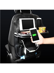 Car with 4 USB Charging Ports Cables and Dining Rack Back Pocket