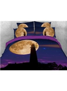 Lighthouse Under the Moon Purple Printed 3D 4-Piece Bedding Sets/Duvet Covers