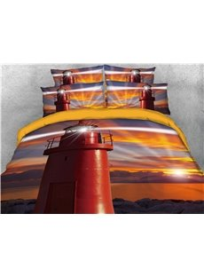 Red Glowing Lighthouse and Sunrise Printed 3D 4-Piece Bedding Sets/Duvet Covers