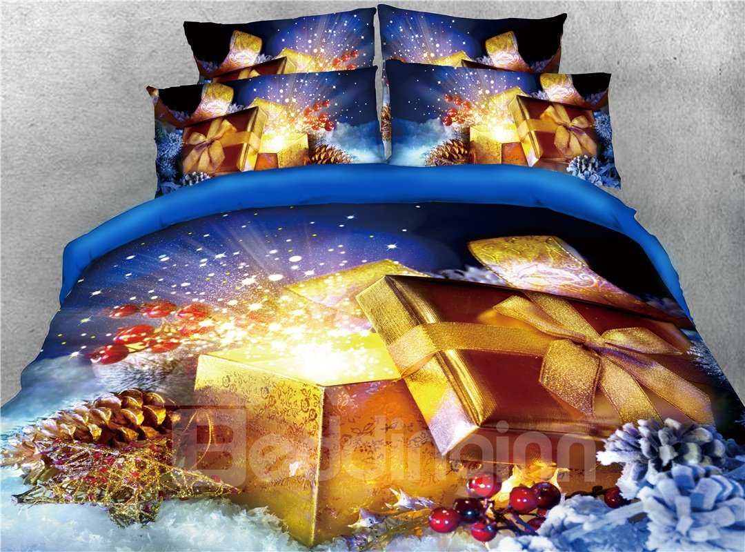 Golden Glowing Christmas Present Printed 4-Piece 3D Bedding Sets/Duvet Covers