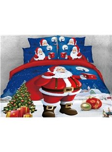 Santa Holding Presents and Christmas Tree Printed 4-Piece 3D Bedding Sets/Duvet Covers