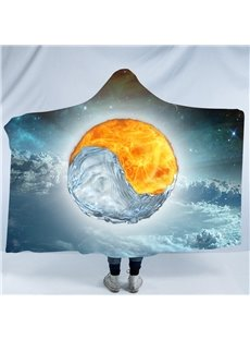 Fire and Water Taiji Yin Yang Pattern Cloud Layer Printing Polyester Hooded Blanket