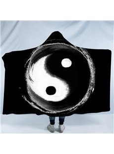 Black and White Taiji Yin Yang Pattern Printing Polyester Hooded Blanket